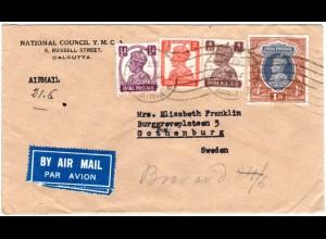 Indien, 4 Marken auf Luftpost Brief v. Calcutta n.Schweden