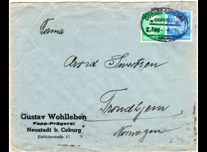 DR 1936, 5+20 Pf. auf Brief v. Neustadt n. Norwegen. Bahnpost Coburg-Lauscha