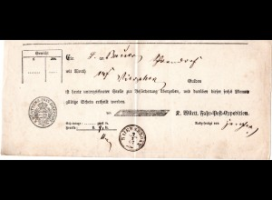 Württemberg 1867, Postschein v. BAIERSBRONN