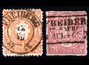 Sachsen, 2 schöne Stempel v. FREIBERG, u.a. Nachverwendung auf NDP