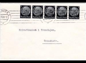DR 1939, MeF 5er-Streifen 1 Pf. auf Drucksache Brief v. Hamburg n. Norwegen