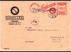 DR 1943, 3 Pf. MER Sorglosreisen Freistempel auf Brief v. Berlin n. Norwegen