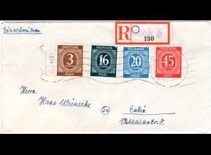 1946, portorichtiger R-Brief m. eingestempeltem Reko Zettel v. Lübeck 6