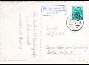 DDR 1960, Landpost Stpl. GRÄFENWARTH über Schleiz auf Karte m. 10 Pf.