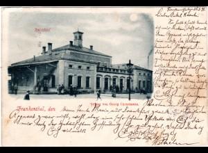 Frankenthal, Bahnhof m. Personen, frühe, 1898 gebr. sw-AK
