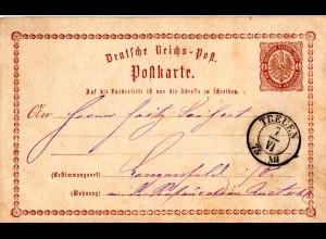 DR 1875, TREUEN, nachverwendeter Sachsen-K2 auf 1/2 Gr. Ganzsache