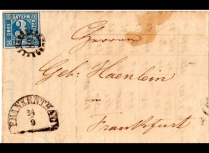 Bayern 1855, 3 Kr. auf Brief m. MR 89 FRANKENTHAL n. Frankfurt.