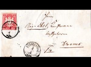 Bayern, Zier-K1 FRANKENTHAL auf Brief m. voll-/breitrandiger 3 Kr. n. Worms
