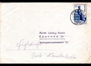 Saar 1950, EF 25 F. Heiliges Jahr auf portorichtigem Brief v. Homburg n. München