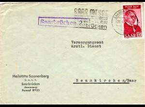 Saar 1950, EF 15 F. auf portorichtigem Brief m. blauem R1 Saarbrückem 2 B