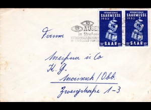 Saar 1953, MeF Paar 15 F. Saarmesse auf portorichtigem Brief v. Saarbrücken