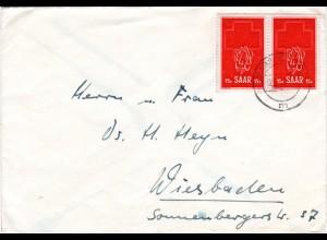 Saar 1952, MeF Paar 15 F. Rotes Kreuz auf portorichtigem Brief v. Saarbrücken