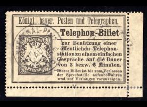 Bayern 1906, 20 Pf. Telefon-Billett Ganzsache m. K1 FRANKENTHAL Pfalz