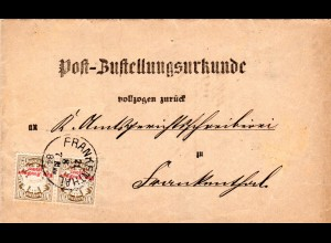 Bayern 1884, Paar 10 Pf. Portomarken auf Orts-Zustellurkunde v. K1 Frankenthal