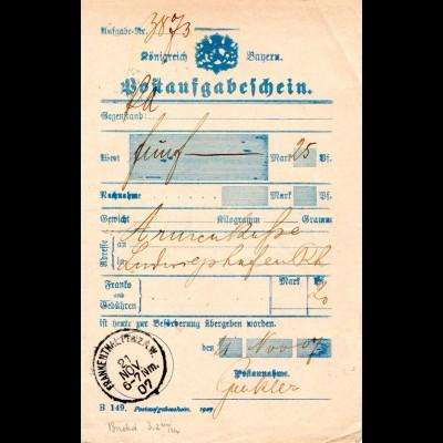 Bayern 1907, K1 Frankenthal A.W. auf Aufgabeschein. Type nicht bei Helbig!