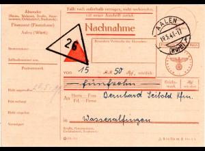 DR 1944, Finanzamt Aalen, Nachnahme Karte Frei durch Ablösung Reich