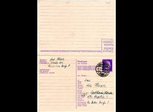 DR 1945, 6+6 Pf. Doppel Ganzsache, Frageteil gebr. v. OELSNITZ