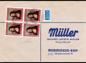 BRD 1952, 4er-Block Mona Lisa 1. Aufl. auf Brief v. Chieming m. Notopfermarke