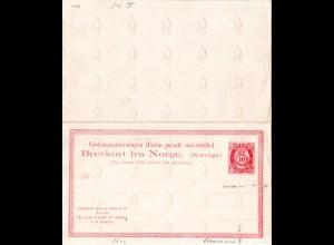 """Norwegen P15, 10 öre Doppel Ganzsache, Variante senkr. """"T"""" + zusätzl. Ornament"""