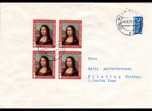 BRD 1952, 4er-Block Mona Lisa 2. Aufl. auf Brief v. Memmingen m. Notopfermarke