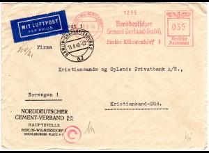 DR 1940, Berlin Wilmersdorf Zement Verband Maschinen Freistpl.auf Luftpost Brief