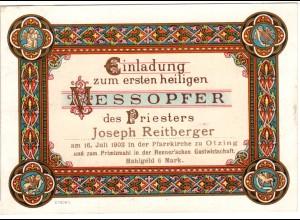OTZING, attraktive Einladungskarte zum 1 hlg.Messopfer des Priesters Reitberger