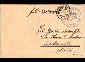 FP WK I, Karte v. Aachen m. Briefstempel Reserve-Lazarett Aachen-Karlsburg