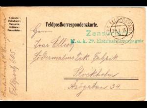 Österreich 1916, Eisenbahn Kompagnie Zensur-L2 auf Karte m Stpl. Feldpostamt 605
