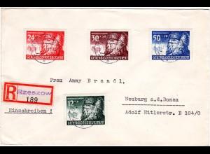 Generalgouvernement 1941, 4 Marken WHW auf Einschreiben Brief v. Rzeszow