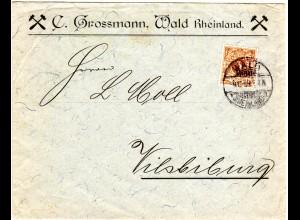 DR 1899, 3 Pf. auf Stahl Firmen Brief C. Grossmann von Wald, Rheinland