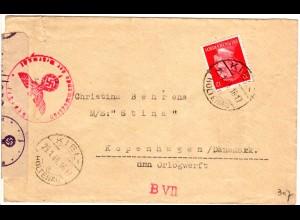 DR 1944, 12 Pf auf Zensur Brief v. Kiel Holtenau n. Dänemark. Sogen. Europaporto