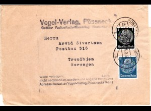 DR 1937, 1+4 Pf. auf Zeitungsschleife v. Pössneck n. Norwegen