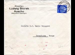 DR 1940, 25 Pf. auf Hopfen Vordruck Brief v. Auscha Sudetengau n. Norwegen