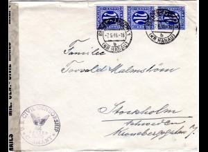 1946, MeF 3er-Streifen 25 Pf. auf Zensur Brief v. Bergen-Enkheim n.Schweden
