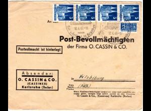 1949, MeF 4er-Streifen 5 Pf. auf Firmen Vordruck Brief v. WINDSHEIM