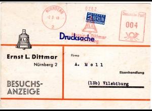 1949, Karte m. Firmen Freistpl. Messing Dittmar v. Nürnberg. Abb. Glocke