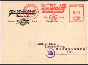 1949, Karte m. Firmen Freistpl. Ulmia-Reform v. Ulm. Abb. einer Chimäre