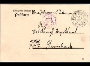 Bayern 1912, portofreie Karte v. Pfarramt TETTENWEIS m. Stpl. POCKING