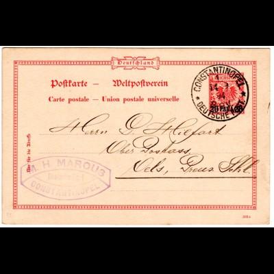 Dt. Post Türkei 1894, 20 P./10 Pf. Ganzsache v. CONSTANTINOPEL m. Firmenstempel