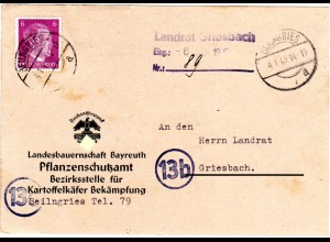 DR 1945, 6 Pf. auf später Karte der Landesbauernschaft Bayreuth ab Beilngries
