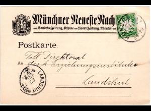 Bayern 1907, 5 Pf. auf illustrierter Karte d. Münchner Neueste Nachrichten