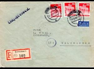 1949, MeF 3er-Streifen 20 Pf. auf Einschreiben Brief v. 13a SCHWABACH