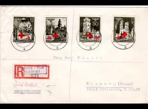 Generalgouvernement 1941, Rotes Kreuz Zuschlag Satz kpl. auf Reko Express Brief