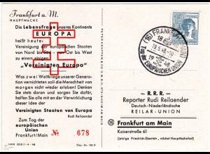 1948, Sonderstempel Tag d. europäischen Union auf limitierter Karte v. Frankfurt