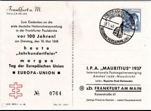 1948, SoStpl. Jh-feier National Versammlung auf limitierter Karte v. Frankfurt