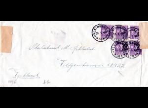 FP WK II, 5x10 öre auf Zensur Brief an einen Schweden Freiwilligen, FP.Nr. 38922