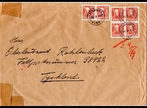 FP WK II, 6x15 öre auf Zensur Brief an einen Schweden Freiwilligen, FP.Nr. 38922