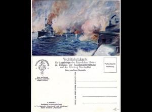 SMS Scharnhorst u. Gneisenau i.d. Seeschlacht bei Coronel, Chile, Farb-AK