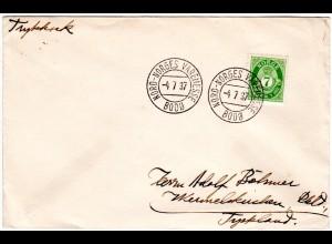 Norwegen 1937, Sonder Stpl. NORD-NORGES VAREMESSE BODÖ auf Brief m. 7 öre
