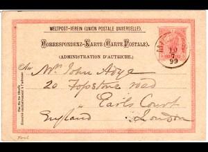Österreich 1899, Tirol-K1 MIEDERS klar auf 5 Kr. Ganzsache n. GB